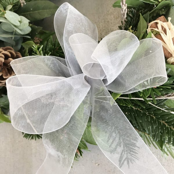 Green Wreath White Ribbon