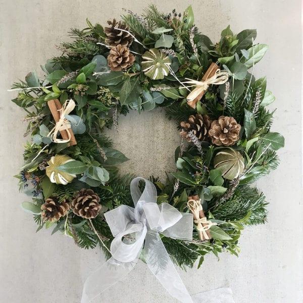 Green and Silver Christmas Wreath Leamington Spa