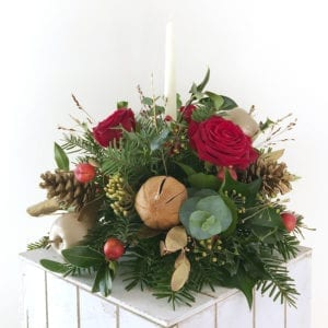 Red and Gold Round Table Arrangement